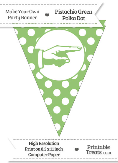 Pistachio Green Polka Dot Pennant Flag with Hand Pointing Right from PrintableTreats.com
