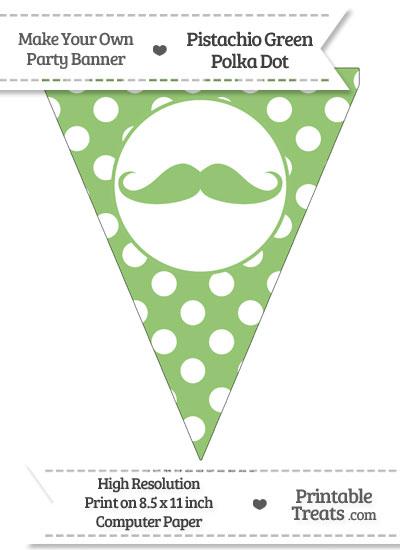 Pistachio Green Polka Dot Pennant Flag with Handlebar Moustache from PrintableTreats.com
