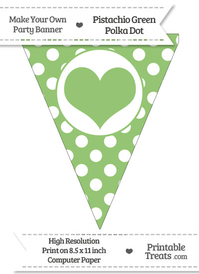 Pistachio Green Polka Dot Pennant Flag with Heart from PrintableTreats.com