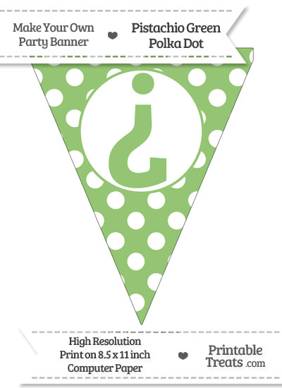 Pistachio Green Polka Dot Pennant Flag with Inverted Question Mark from PrintableTreats.com