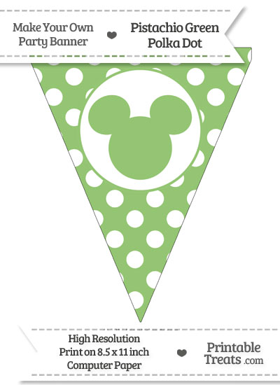 Pistachio Green Polka Dot Pennant Flag with Mickey Mouse from PrintableTreats.com