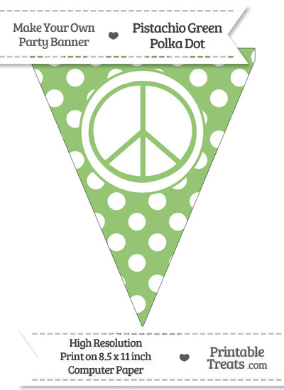 Pistachio Green Polka Dot Pennant Flag with Peace Sign from PrintableTreats.com