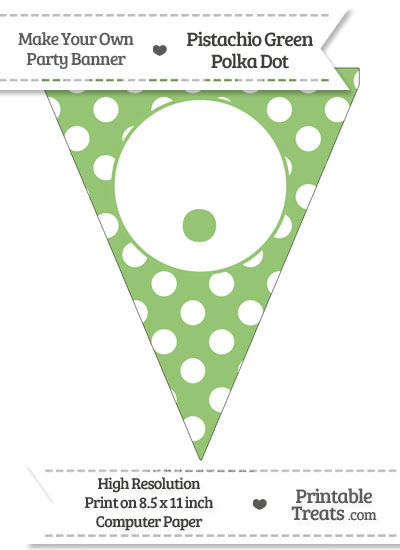 Pistachio Green Polka Dot Pennant Flag with Period from PrintableTreats.com