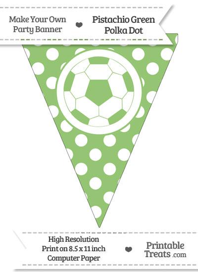 Pistachio Green Polka Dot Pennant Flag with Soccer Ball from PrintableTreats.com