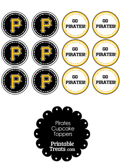 Pittsburgh Pirates Cupcake Toppers from PrintableTreats.com