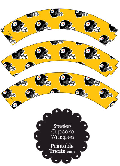 Pittsburgh Steelers Football Helmet Cupcake Wrappers from PrintableTreats.com