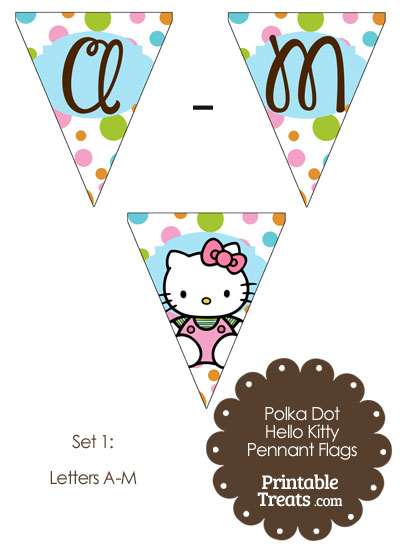 Polka Dot Hello Kitty Pennant Banner Flag Letters A-M from PrintableTreats.com