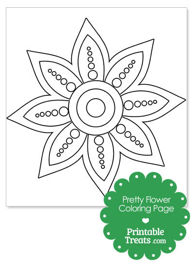 Pretty Flower Coloring Page from PrintableTreats.com
