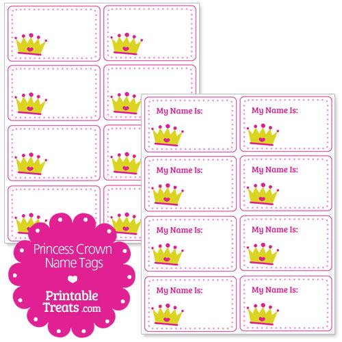 princess crown name tags