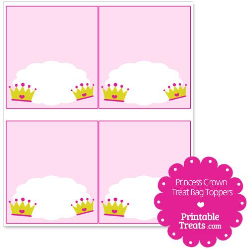 princess crown treat bag toppers