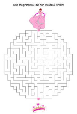 princess maze printable hard