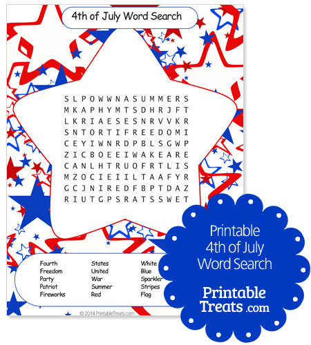 printable 4th of july word search