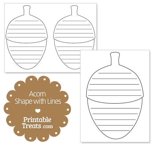printable acorn shape with lines
