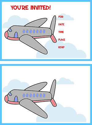 printable airplane party invitations