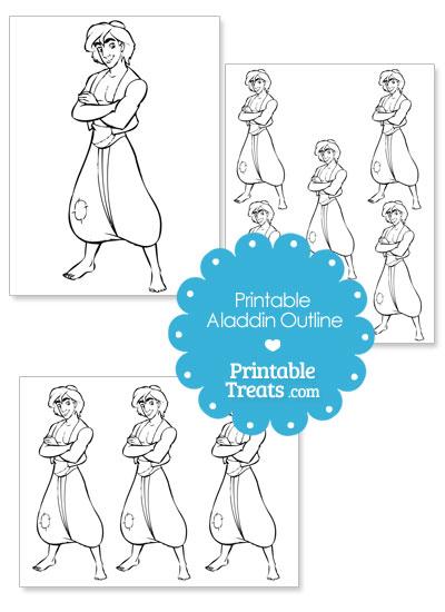 Printable Aladdin Outline from PrintableTreats.com