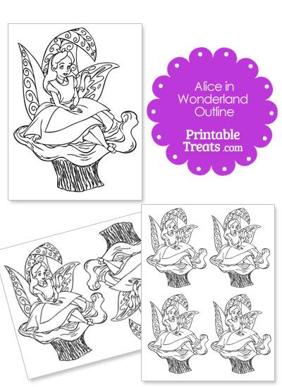 Printable Alice in Wonderland on a Mushroom Outline from PrintableTreats.com