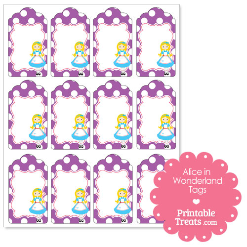 free printable Alice in Wonderland tags from PrintableTreats.com