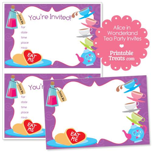 printable Alice in Wonderland tea party invitations