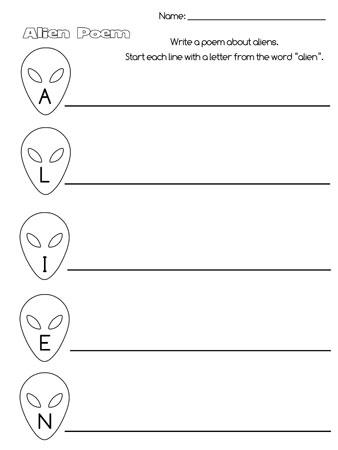 printable alien acrostic poem