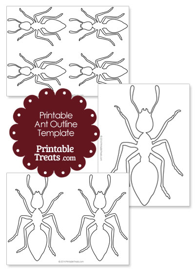 Printable Ant Outline Template from PrintableTreats.com