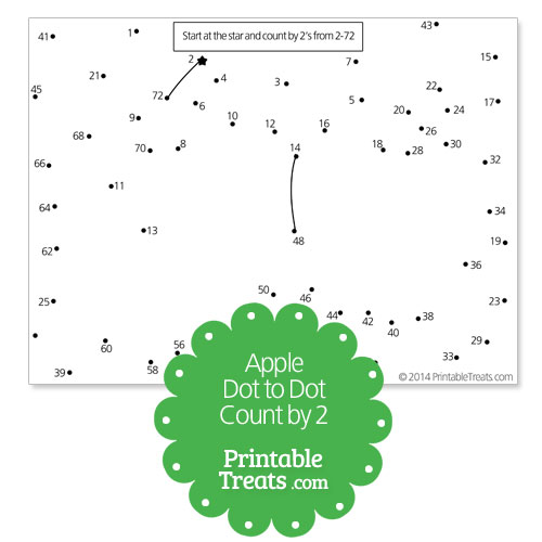 free printable apple dot to dot count by 2