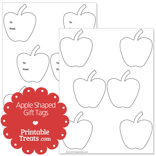 printable apple shaped gift tags