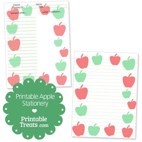printable apple stationery