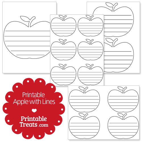 printable apple with lines