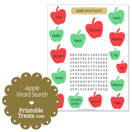 printable apple word search