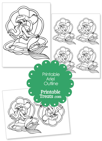 Printable Ariel on a Clamshell Outline from PrintableTreats.com