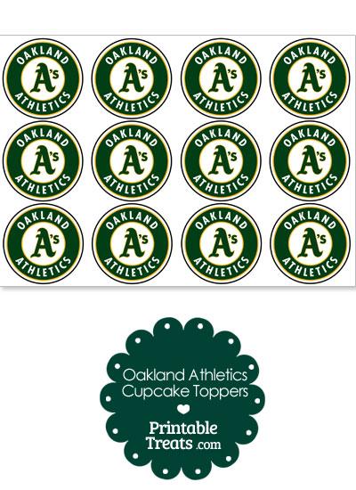 Printable Athletics Logo Cupcake Toppers from PrintableTreats.com