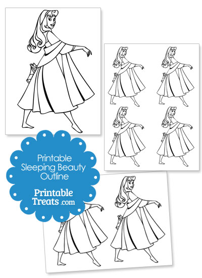Printable Aurora Sleeping Beauty Outline from PrintableTreats.com