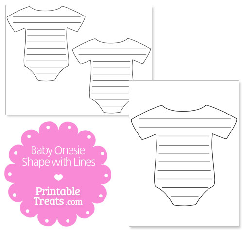 printable baby onesie shape with lines