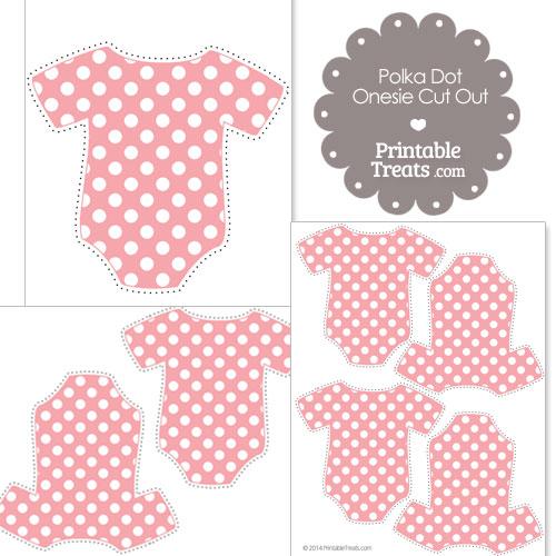 printable baby pink polka dot onesie cut outs