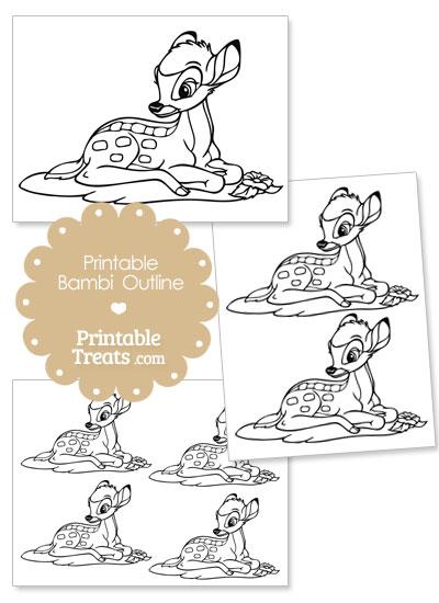 Printable Bambi Outline from PrintableTreats.com