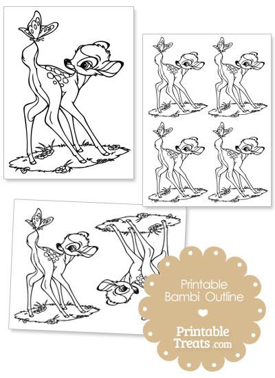 Printable Bambi with Butterfly Outline from PrintableTreats.com