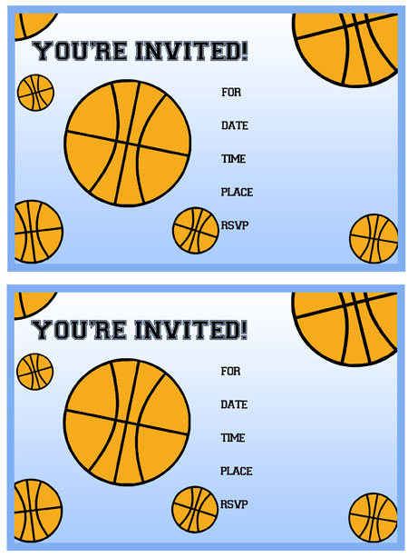 printable basketball birthday party invitations