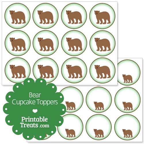 printable bear cupcake toppers