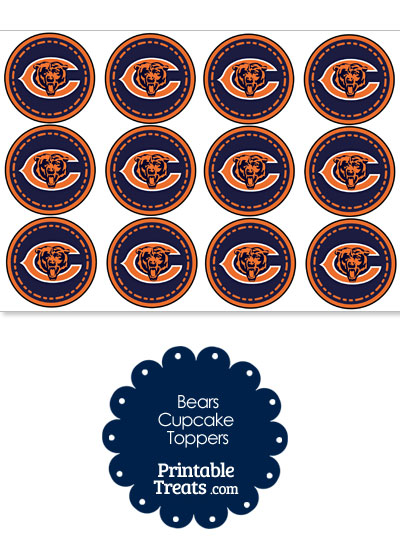 Printable Bears Logo Cupcake Toppers from PrintableTreats.com
