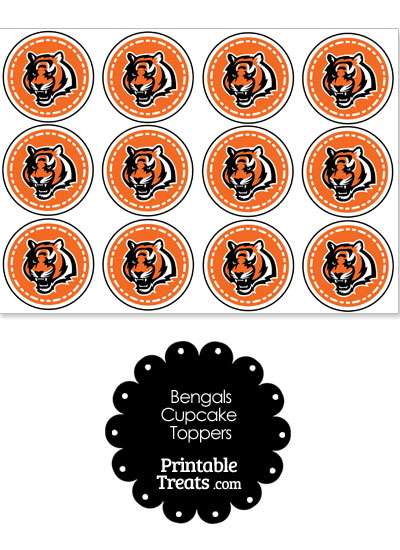 Printable Bengals Logo Cupcake Toppers from PrintableTreats.com