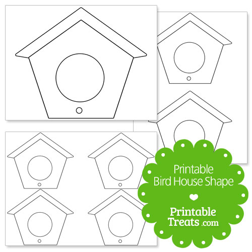 printable bird house shape template