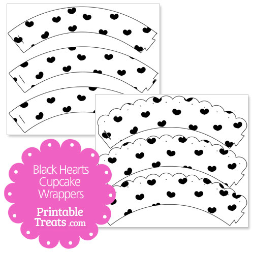 printable black hearts cupcake wrappers