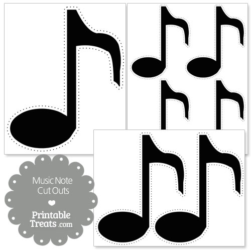 printable black music note cut outs