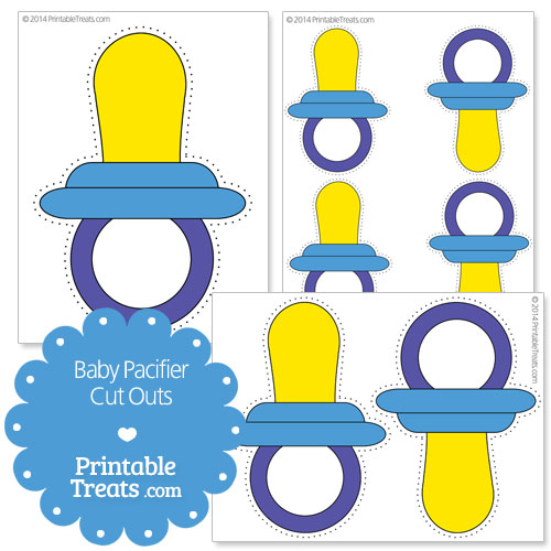 printable blue baby pacifier cut outs