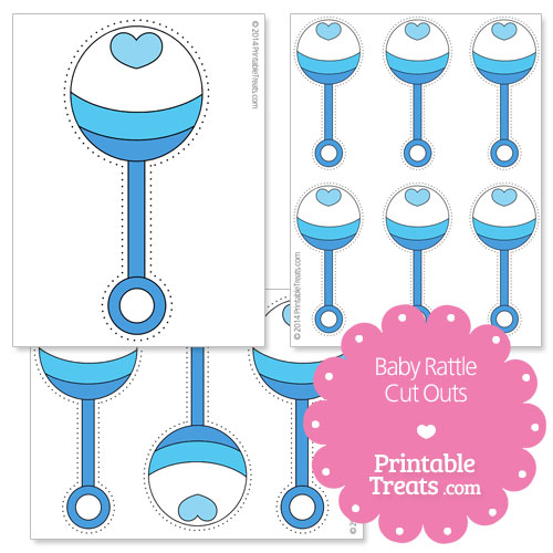 printable blue baby rattle cut outs