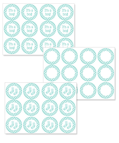printable blue baby shower cupcake toppers
