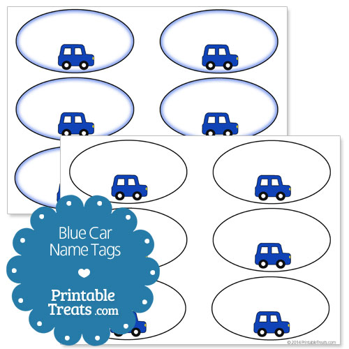 printable blue car name tags