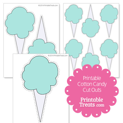 printable blue cotton candy cut outs