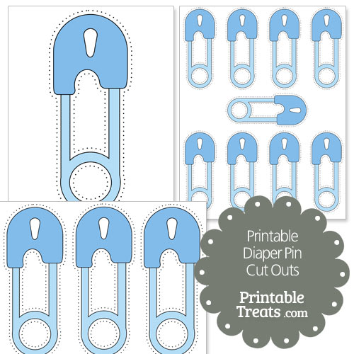 printable blue diaper pin cut outs