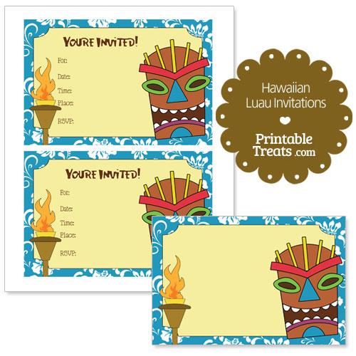 printable blue Hawaiian luau invitations